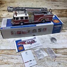 """Corgi #54902 """"Duncan Fd"""" E-One 75 Foot Ladder Fire Truck 8 1/2"""" Long N Mint/Box"""