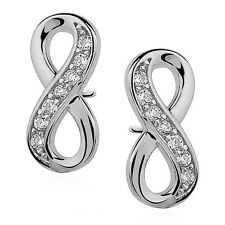 INFINITY/ETERNITY loop-Genuine 925 sterling silver stud earrings-Pave w. CZ-12mm