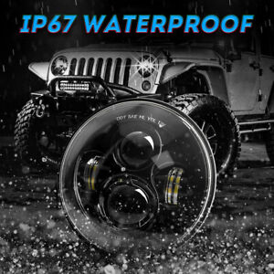 75W 7 Inch round LED Headlight Hi-Lo beam for Jeep Wrangler CJ  LJ JK TJ 97-18