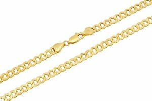 """10k Yellow Gold Cuban Curb Link Chain Necklace 2.5mm-4.5mm Size 16""""-30"""""""