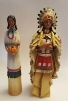 """Native American Indian style couple Statue Set with """"Wood folkart look"""" Resin"""