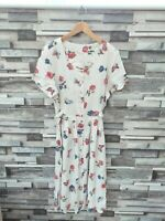 WOMENS VTG RETRO SUMMER FLORAL BRIGHT ABSTRACT BUTTON 80'S FLOWY MAXI DRESS 14
