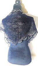 Stylish Head Scarf Black W/ Silver Veil Mantilla chapel lace Silky soft Limited