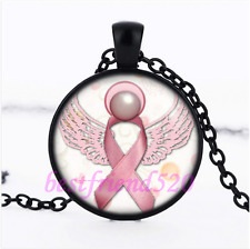 Breast Cancer Awareness Glass Pendant Black Necklace for woman Jewelry