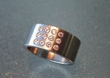 UNISEX CONTEMPORARY unique WIDE Stainless Steel +12 cubic zirconia Size R/59