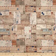 Tim Holtz Eclectic Elements Letter Neutral Fabric By The Yard Correspondence
