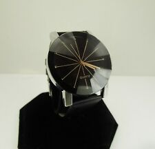Bold Round Unisex Dress Watch with Black Band Works Great New! has fauceted face