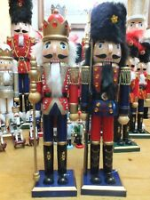 TWO NUTCRACKERS CHRISTMAS DECORATION  PRINCE & SOLDIER WITH RIFLE NEW