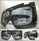 OVERSIZED Exaggerated RETRO Shield Style SUN GLASSES Black Frame Flat Top  Lens