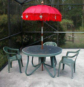 Umbrella Bali RED Two (2) ornamental Balinese Indonesia aprox 7' x 4' (one pair)