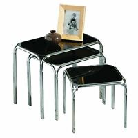 Set Of 3 Nest Black Glass & Chrome Legs Home Coffee End Side Tables Sideboard