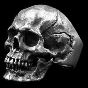 Gothic Mens Skull And Bones Biker Ring For Men Stainless Steel Size 7-13