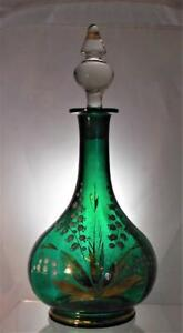 Victorian Green Glass Decanter & Stopper Decorated Lilly Valley Rough Pontil