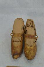 antique ladies shoes gold leather squash heel sz 6 Edwardian original