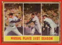 1962 Topps #317 Stan Musial IA VG-VGEX WRINKLE St. Louis Cardinals FREE SHIP
