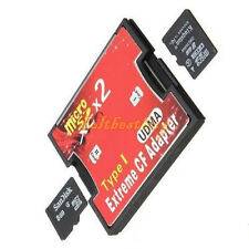 Micro SD TF SDHC 2 Port Slot to type I Compact Flash Card CF Reader Adapter UK