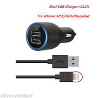 Car Charger 2 Port Adapter & Cable For iPhone 5/5C/5S/6/Plus/iPad Dual USB 2.1A