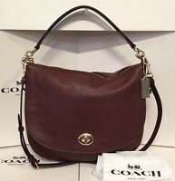 Coach 36762 Turnlock Oxbood Pebbled Leather Hobo Convertible Shoulder Bag