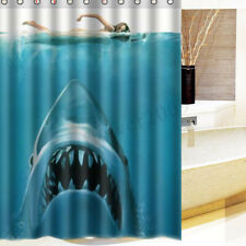 "Waterproof Shark Underwater Jaws Polyester Bath Shower Curtain 60 x 72"" w/"