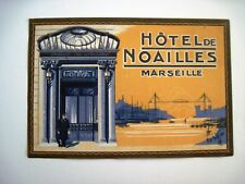 "Vintage Luggage Label for ""Hotel de Noailles"" Marseille w/ Nice Colors  *"