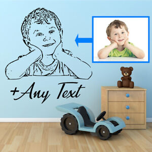 Personalised  Portrait Wall Stickers. GREAT BIRTHDAY GIFT. Wall art decal quotes