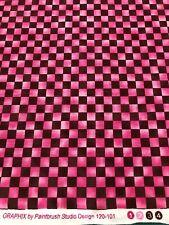 Paintbrush Studio - Graphix Range - Pink + Brown Check - 100% Cotton