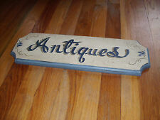 Antiques Shop Sign Wood 17 3/4 X 5 1/2 Inch Cursive Writing Wall Mount Rectangle