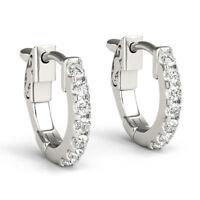 1.40 Ct Round Genuine Diamond Hoop Earrings 14K Real White Gold Stud Earring SI1