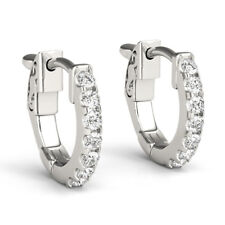 1.40 Ct Round Genuine Diamond Hoop Earrings 14K Real White Gold Stud Earring SI1