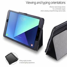 For Samsung Galaxy Tab S3 9.7 Poetic SlimFolio Series Slim PU Leather Case Black