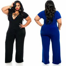 Sexy Women Plus Size Casual Jumpsuit Dress Party Evening Clubwear V-Neck Bandage