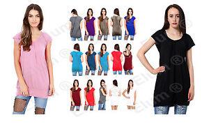 Ladies Low Cut Plain Hip Long Line Top Gathering T Shirt Tunic Summer Holiday