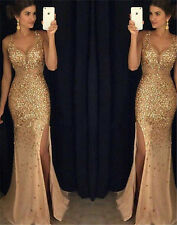 New Crystal Long Formal Evening Prom Dress Mermaid Celebrity Pageant Party Gown