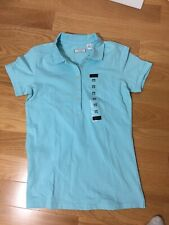 #406–. Lady Hathaway Blue Polo Shirt top Size M