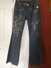 ELIE TAHARI EMBROIDED JEANS Size 6 NEW $328 GORGEOUS