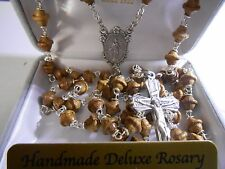 7 mm Walnut Top Shaped wooden beads  - Deluxe Silver Oxidized Crucifix - Rosary
