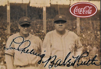 Babe Ruth Lou Gehrig Coca-Cola Advertising Baseball Card Facsimile Auto