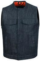 Cut off Black Denim Mens Womens Vest Waiscoat-Gilet Biker Motorcycle Jeans Son