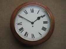 Oak Case 8 Day School, Railway, Station, Dial Type Wall Clock. In Working Order