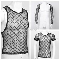 Mens Fishnet See-through Vest Tank Tops Clubwear Undershirt Mesh Top Shirt Club