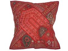 Maroon Decorative Euro Sham Beaded Sari Patchwork Square Floor Pillow Cover 26""