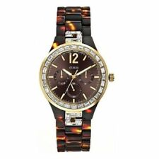 New Guess Ladies U0078L1 Multi Dial Crystals Acrylic Tortoise Brown Band Watch