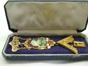 Fabulous Large Solid 14 Carat Gold Enamel Scene Masonic Medal In Original Box