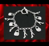 NEW - FASHIONISTA HIGH HEELED SHOES & PURSES LADIES SILVER PLATED CHARM BRACELET