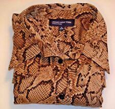Jones New York Signature Long Sleeve Button Down Shirt Snake Skin Print  XL