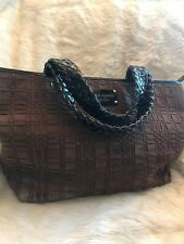 Beautiful Brown Suede Kate Spade With Black Patent Leather Ladies Handbag