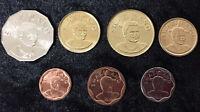 SWAZILAND SET 7 COINS 5 10 20 50 CENT 1 2 5 EMALAGENI 2007-2011 UNC