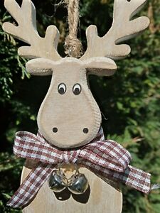 cute nordic style wooden christmas hanging reindeer decoration/present topper
