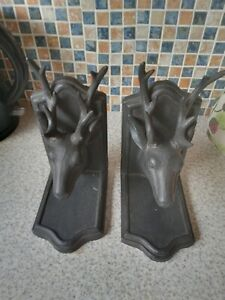 PAIR BLACK RESIN MOUNTED STAG'S HEAD Bookends ANTLERS  23CM X 14CM X 10.5CM