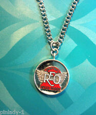 "REO Heavy Duty Speedwagon  logo - Necklace (red)  20"" chain (silver) GIFT BOXED"